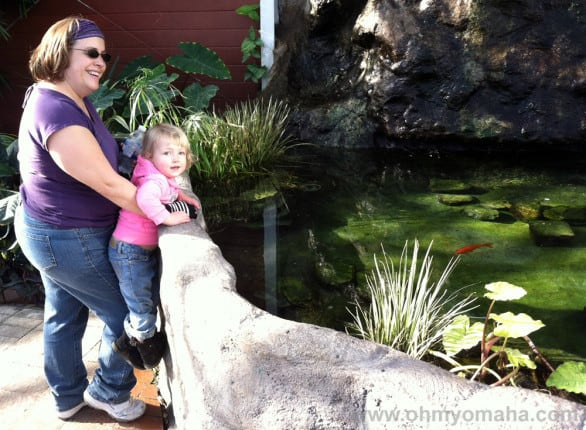 Aunt Amy and Mooch check out the fishies.