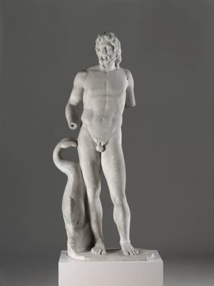 Instantly recognizable by his trident and accompanied by fish and dolphins, Poseidon - like his Roman counterpart Neptune - is characterized by his sturdy build, thick wavy hair, and full beard.