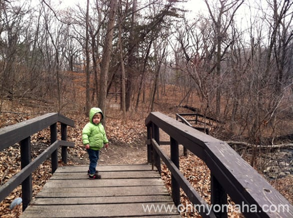 The start of the easy hike to the waterfall at Platte River State Park. I see my daughter has my patient look.