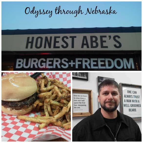 My husband and I enjoy date nights at Honest Abe's, but we cannot tell the kids our destination, or they would BEG to tag along!  Both of the framed pictures describe my husband! Photo collage courtesy Odyssey Through Nebraska.