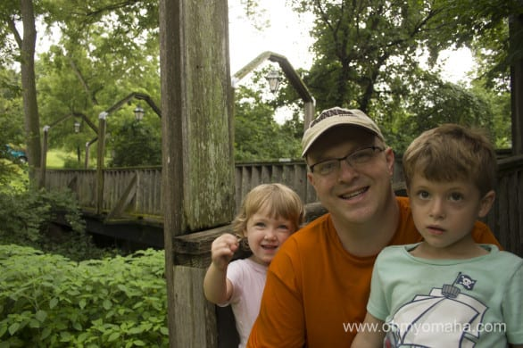 Mr. Wonderful and the kids near another bridge in Brownville.