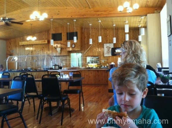 Brunch at the lodge at Platte River State Park. Fried chicken was king with the kids.