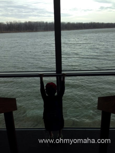 The visitor center sits by - and on top of - the Missouri River.