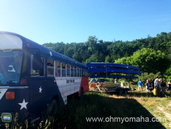 Our bus dropped us off by the river, so we can canoe back to our cars.