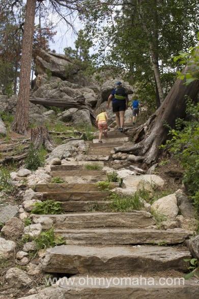 Up some steps around Sylvan Lake at Custer State Park.