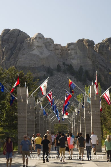 The Avenue of Flags that lead up to a great spot to view Mount Rushmore.
