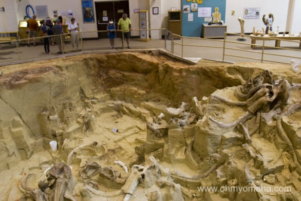 A partial view of the excavation area at Mammoth Site in Hot Springs, South Dakota.