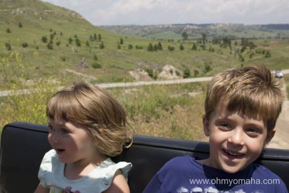 Once we hit the bumpy dirt road, the kids were all smiles on the jeep ride at Fort Robinson.