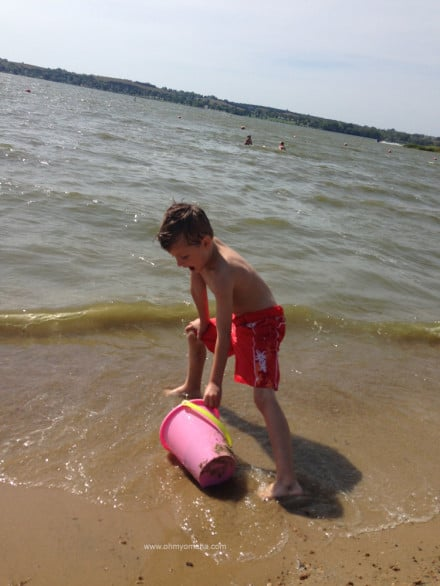 Playing on the beach at Branched Oak Lake.