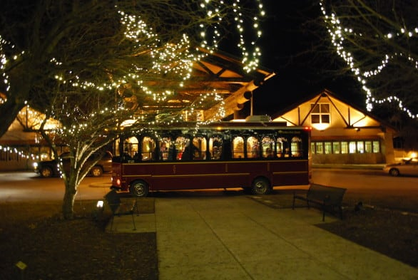The Holiday Trolley Tour of Lights is on the weekends in Nebraska City. Photo courtesy Otoe County Visitors Committee