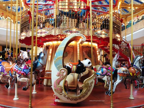 The two-story carousel at Oak Park Mall in Overland Park, Kan.