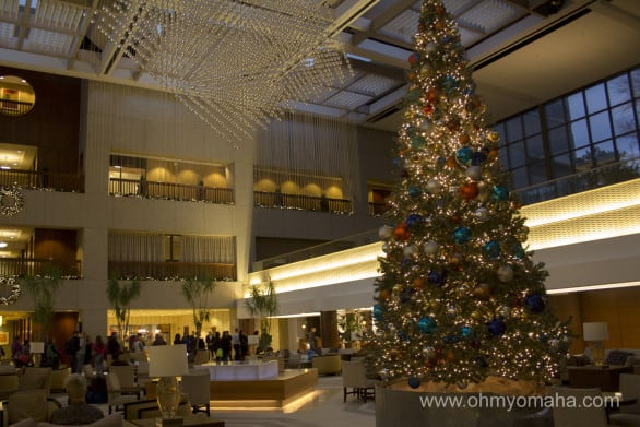 The Sheraton at Crown Center is totally decked out for the holidays. It's quite a sight to walk into.