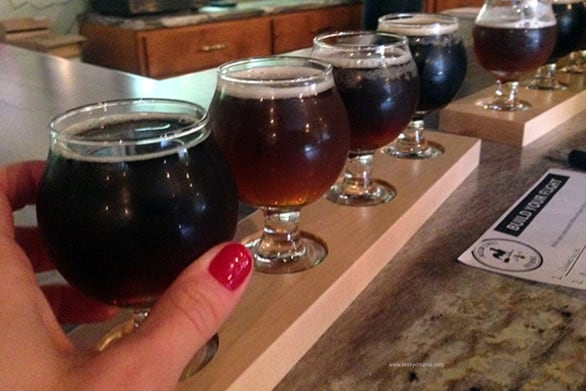 You choose the four beers to sample on a beer flight at Jackson Street Brewing Co.