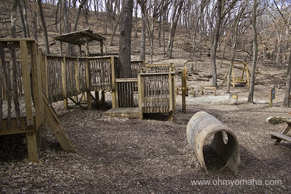 Nature play structures at Stone State Park.