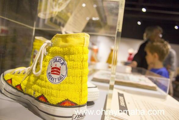 Beaded sneakers at the Nebraska History Museum.
