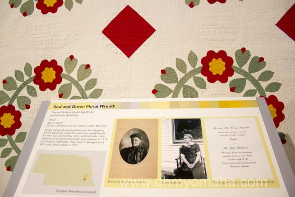 The quilts offered a unique glimpse into every day life of Nebraskans from more than 100 years ago. This one was made as a wedding gift and the display included the wedding invitation.