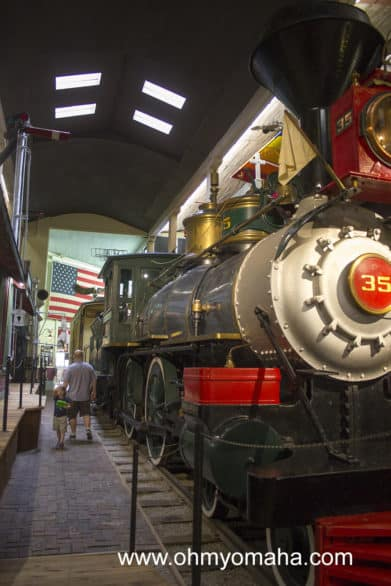 """My 4 -year-old is in the background waving at me to """"Come on!"""" There's so much to take in when you enter the main hall of the Patee House Museum!"""