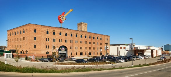 The Hard Rock Hotel & Casino Sioux City feels like two venues in one - the hotel maintains the character of the historic Battery Building and the casino has a modern look. The music theme is carried throughout both. This view is of the hotel side. Photo courtesy Hard Rock Hotel & Casino