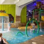 The shallow kids pool included a waterslide, fountain and waterspouts to play with.