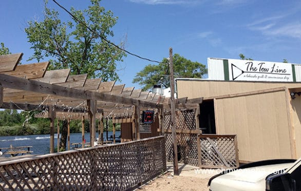 The Tow Line is a bar and grill/bait shop at Victory Lake, located in Fremont Lakes SRA.