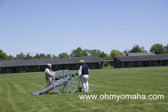 The cannon is prepped to be fired at Fort Atkinson.