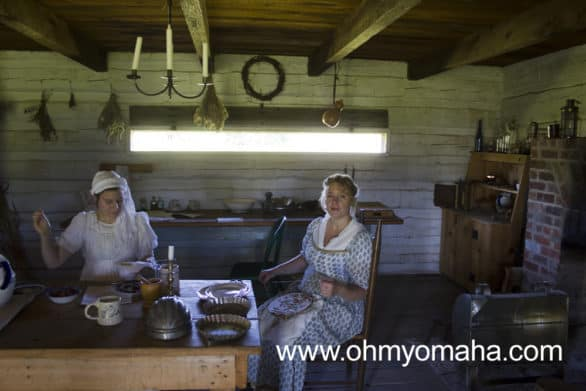 Ladies in the kitchen at Fort Atkinson. They'll be the first to tell visitors women weren't allowed in the fort back in the day, though. They're part of the re-enactments to give insight to what life was like outside of the fort.