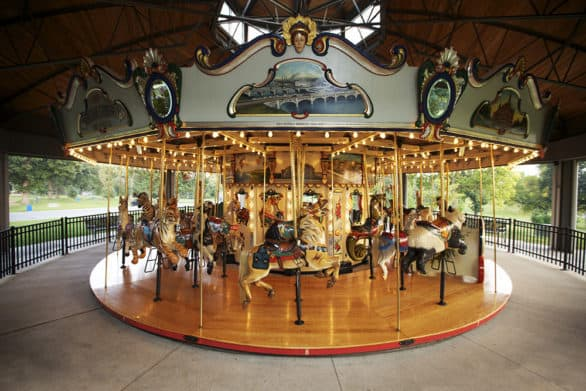 The Heritage Carousel is one of those rare wooden carousels. It was made to feel and sound like a traditional one.