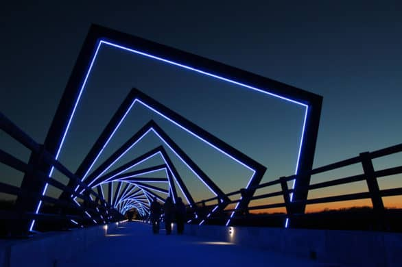 The High Trestle Bridge at night in Des Moines. Photo courtesy Catch Des Moines