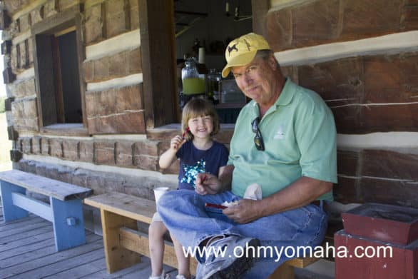 Mooch and my dad enjoying an afternoon snack and lemonade on the porch of the general store.