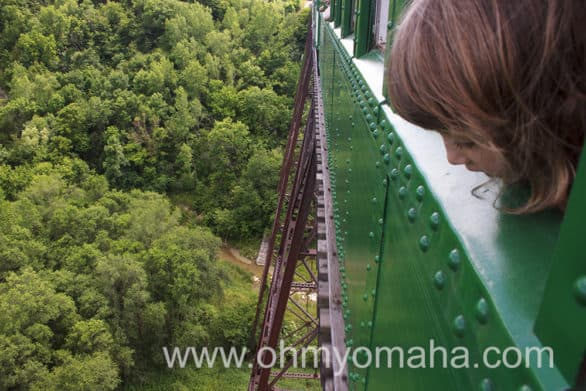 The Boone & Scenic Valley Railroad crosses the Bass Point Creek High Bridge, which, at 156 feet tall, is the tallest single-track interurban railroad bridge in the United States.