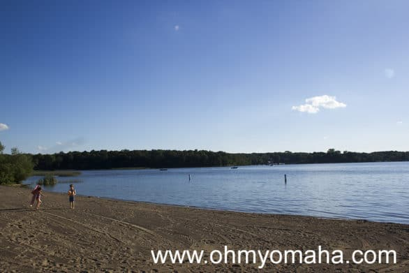 The quiet beach at McKintosh Woods State Park in Clear Lake, Iowa.