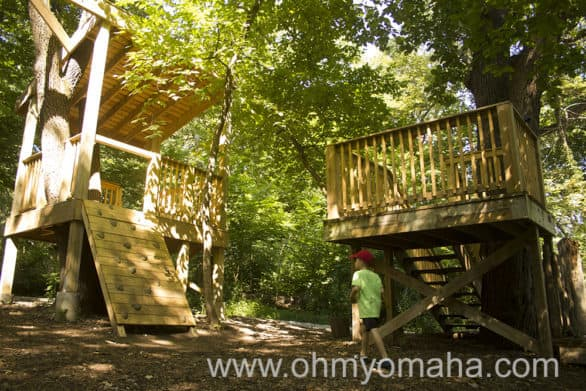One area of Acorn Acres has some climbing structures. Elsewhere, kids can play with musical instruments, build a fort, or play around (or in) a water feature.