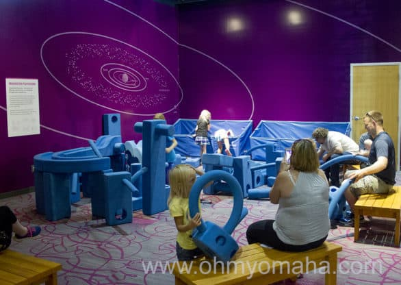 The area with the large blue foam blocks was like a free-play engineering playground.